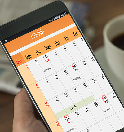 Smartphone showing a schedule