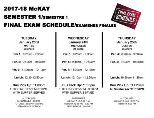 Semester Finals Just Around the Corner – Jan. 23 – 25 2018