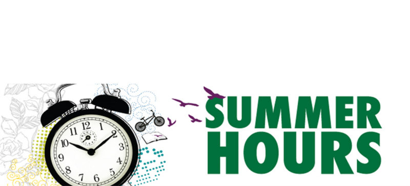 Summer Hours text with alarm clock