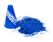 "Cheerleader pompom & megaphone with the word ""Shout"""