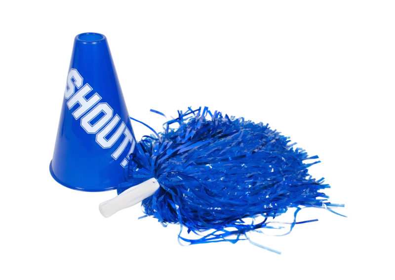 """Cheerleader pompom & megaphone with the word """"Shout"""""""