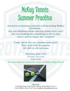 Summer Tennis Practice