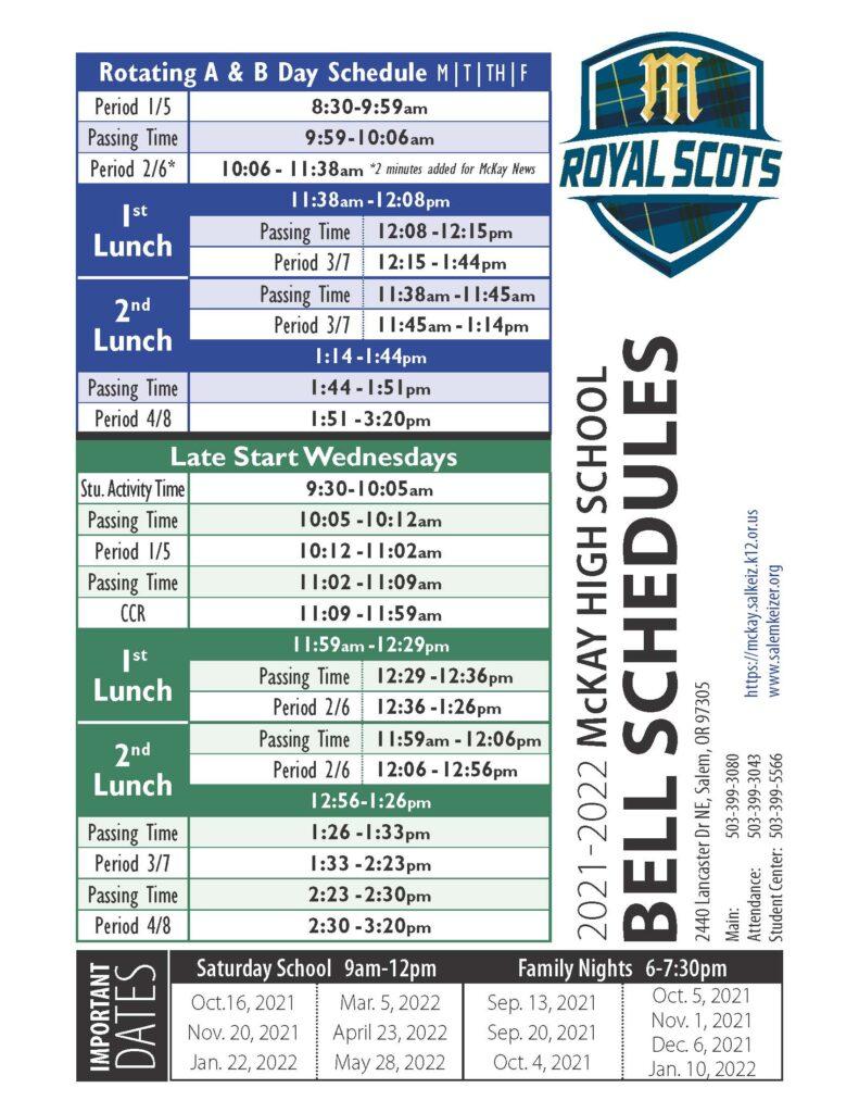 2021-22 McKay Bell Schedule